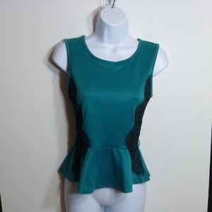 Love Culture Green Sheer Lace Tank